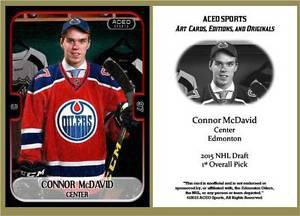 Connor McDavid 2015 ACEO Hockey Card - Edmonton Oilers Rookie RC NEW!