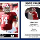 Jacob Jake Coker 2015 ACEO Sports Football Card - Alabama Crimson Tide - QB