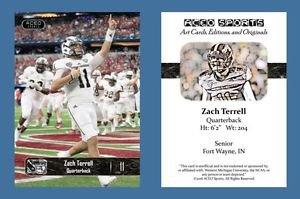 Zach Terrell NEW! 2016 ACEO Sports Football Card - Western Michigan Broncos - QB