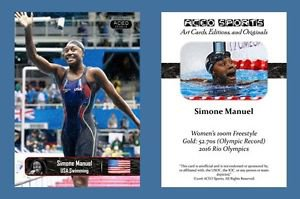 Simone Manuel NEW! ACEO Sports Card 2016 Rio Olympics USA Swimming