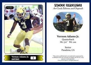 Vernon Adams Jr 2015 ACEO Sports Football Card Oregon Ducks QB