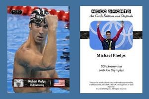 Michael Phelps NEW! ACEO Sports Card 2016 Rio Olympics USA Swimming