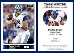 Paxton Lynch NEW! 2015 ACEO Sports Pre Rookie RC Memphis - Denver Broncos