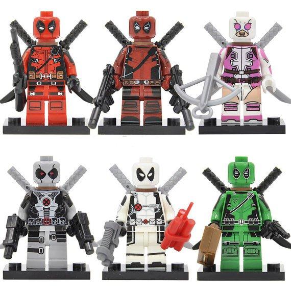 6 Deadpool minifigures Lego compatible, Wade Winston Wilson figure