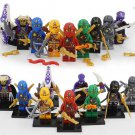 Custom set of 9 minifigures Lego ninjago compatible, Lloyd, Kai, Jay, Cole, Zane, Pythory