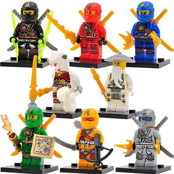 8 custom lego ninjago minifigures lloyd kai jay cole - Ninjago kai jay zane cole lloyd ...