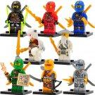 8 Custom Lego Ninjago minifigures, Lloyd , Kai, Jay, Cole, Zane