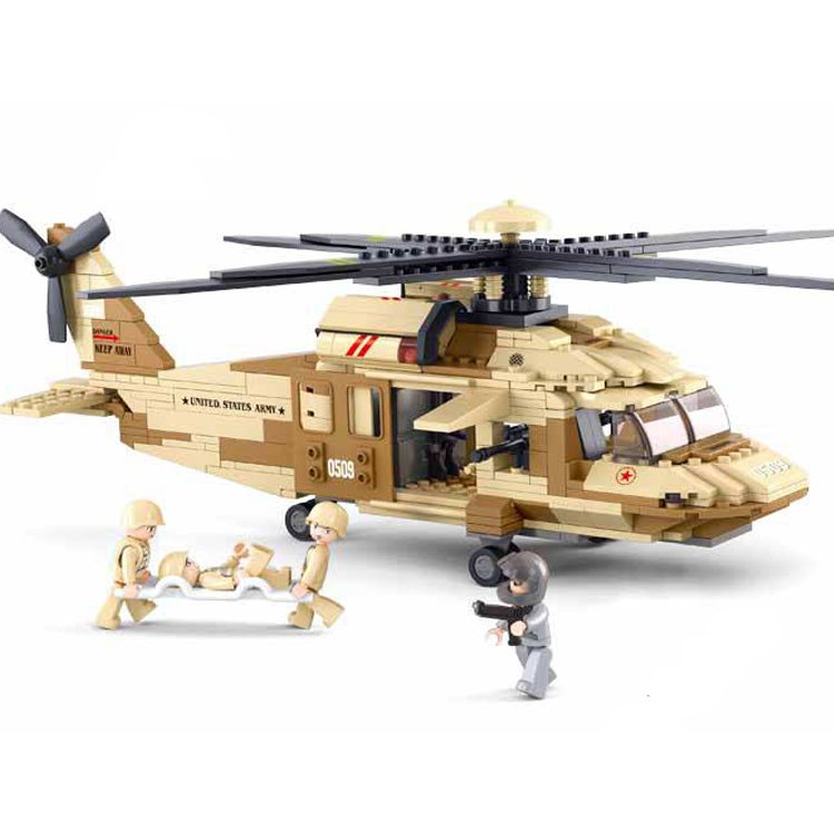 Sluban Military Army War Desert Helicopter Rescue Soldier Toy Lego Compatible