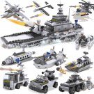 8 in 1 Army Cruise Ship Fighter Aircraft Plane Vehicle Tank Lego Compatible Toy