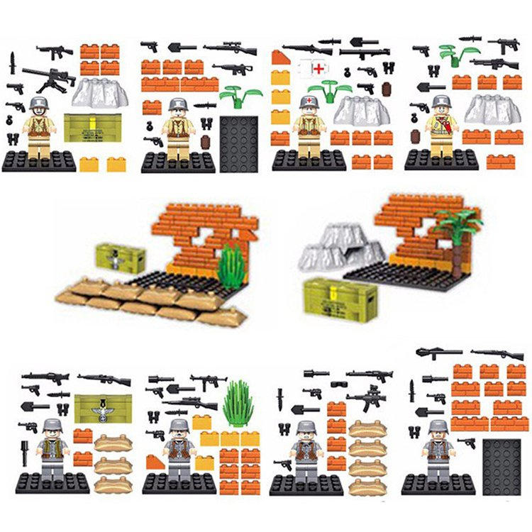 Lego Compatible Army Military German USA Solider with Weapon World War Minifigure