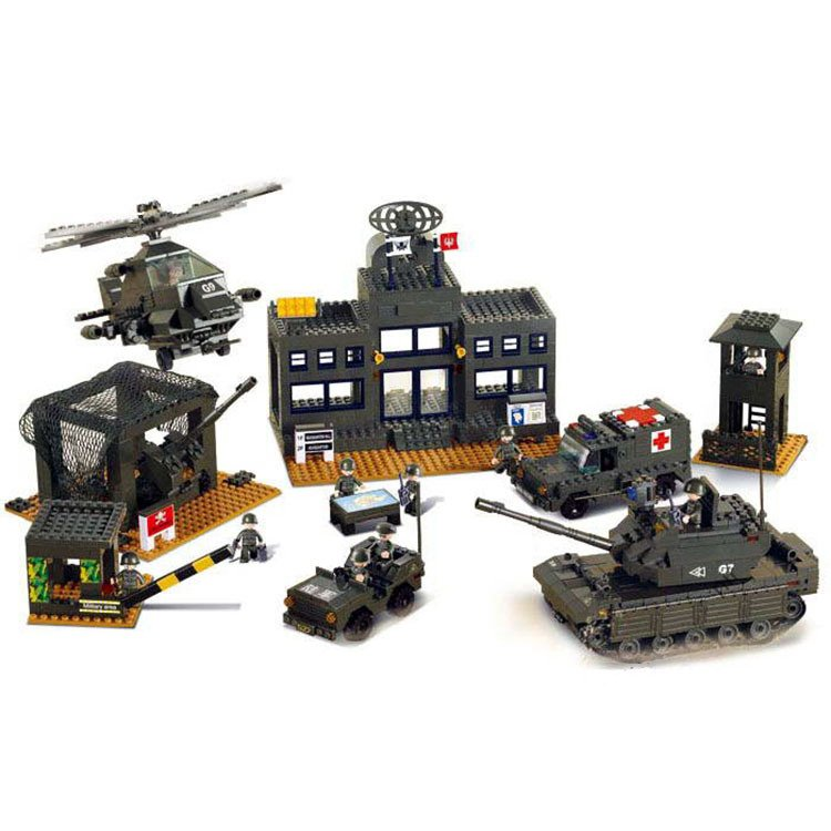 Sluban Military Army War Base Bunker Tank Helicopter Soldier Lego Compatible Toy