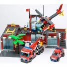 City Fire Station Fighter Department Helicopter Engine Lego Compatible Toy