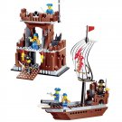 Caribbean Pirate Ship War Vessel Castle Fort Treasure Prison Lego Compatible Toy