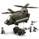 Military War Transporter Helicopter Jeep Soldier Lego Compatible Toy