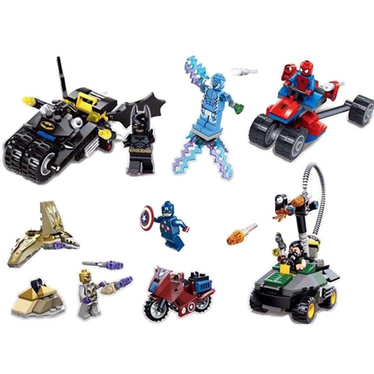 Super Hero Marvel Batman Freeze Spiderman Captain Vehicle Lego Compatible Toy