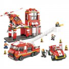 Town Fire Fighter Department Station Truck Helicopter Lego Compatible Toy