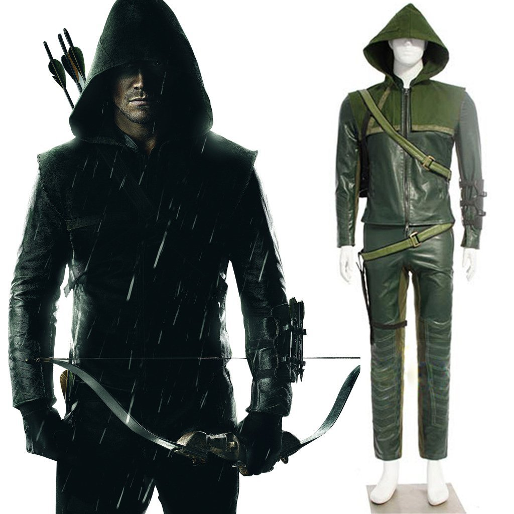 Men's Outfit Green Arrow Oliver Queen Costume Halloween Party Cospaly Costumes