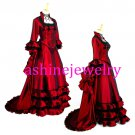 Custom Recoco Royal Victoria Style Women's Red Luxury Party Dress for Halloween Cosplay