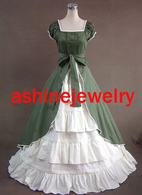 Custom Women's Rococo Dress, Green White Victoria Cosplay Gothic Halloween Party Dress