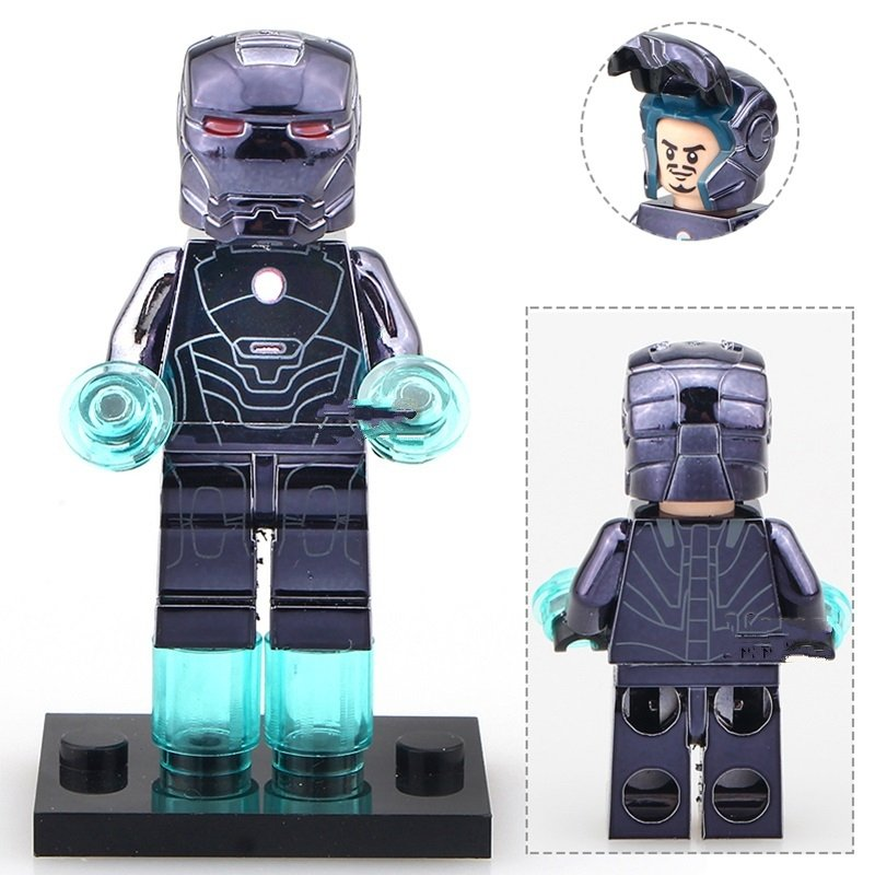 Chrom Blue Iron Man MK16 Super Heroes Minifigure Lego Compatible Toys