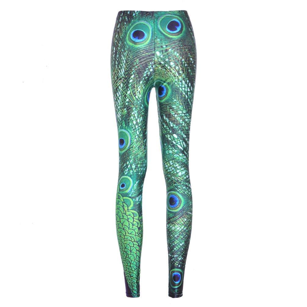 7 Sizes Peacock Fitness Yoga Leggings Women 3D Feather Spandex Capris