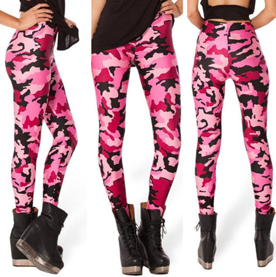 Army Military Camo Camouflage Leggings Pinks Pants Spandex Tights for Woman