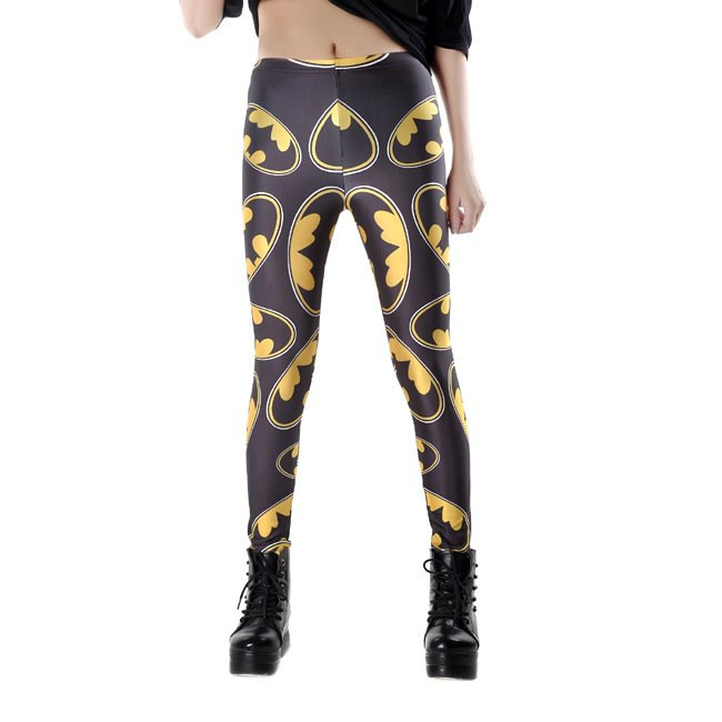 Batman Logo Womens Leggings Cartoon Sports Black Pants Bat Man Slim Tights