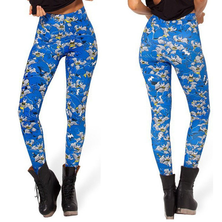 Blue Batman Womens Leggings Cartoon Sports Pants Bat Man Workout Slim Tights