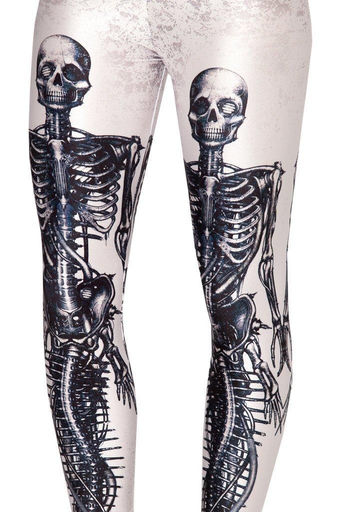 Skeleton Spandex White Leggings Women Bone Digital Printed Fitness Pants