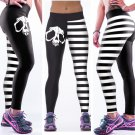 Skull High Waist Lady Trousers Black White Stripes Pant Fashion Work out Jegging
