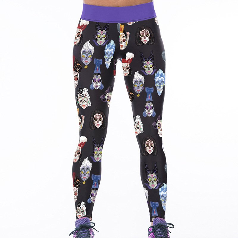 Day of the Dead Spandex Leggings Face Make up Fitness Pants Beijing Opera Yoga