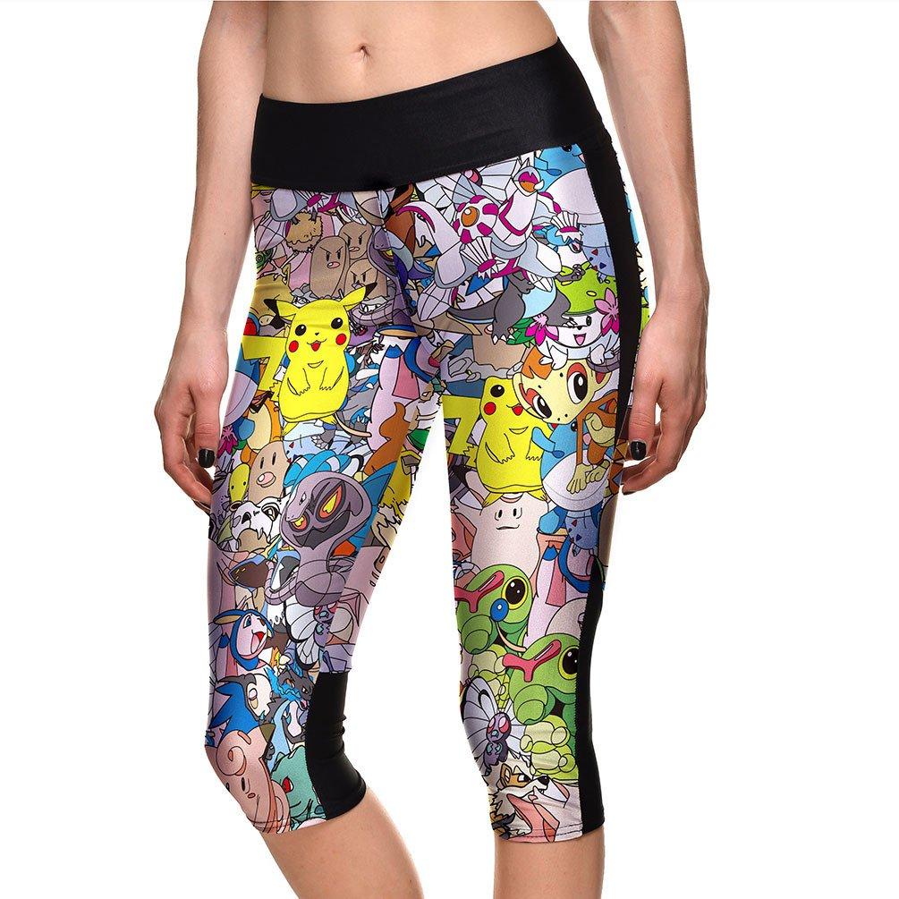 Digimon Adventure Cropped Leggings Womens Game Boy Short Pants Sport Gym Tight