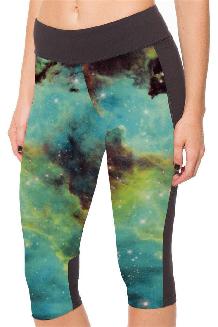 Blue Fashion Galaxy Elastic Women Sexy Yoga Summer Cropped Pants High Waist Leggings