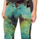 Blue Fashion Galaxy Elastic Women Sexy Yoga Summer Cropped Pants High Waist Leggings