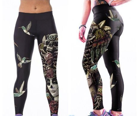 Floral Day of the Dead Leggings Sugar Skull Black Pants Tattoo Halloween Clothes
