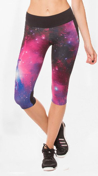Quality Women Sexy Galaxy Space Cropped Trousers Elastic Yoga Leggings
