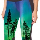 Hot Women Sexy Tree Shadow Galaxy Cropped Trousers Elastic Pants Yoga Leggings