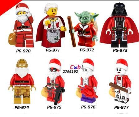 Star Wars Christmas Granny Santa Claus Master Yoda Darth Vader Deadpool Joker  Lego Compatible toys