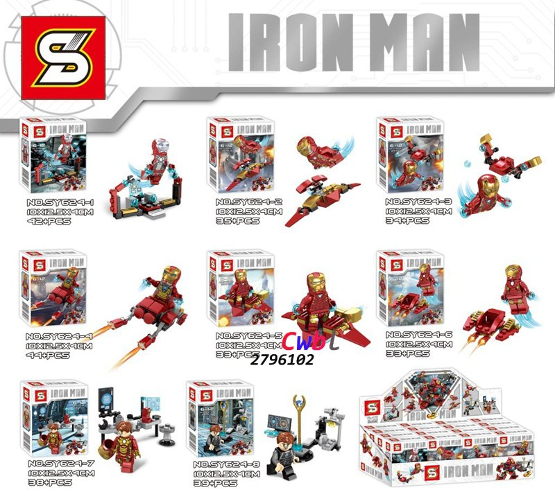 Iron Man 8 In 1 Minifigures building blocks action figure sets model Lego Compatible toys