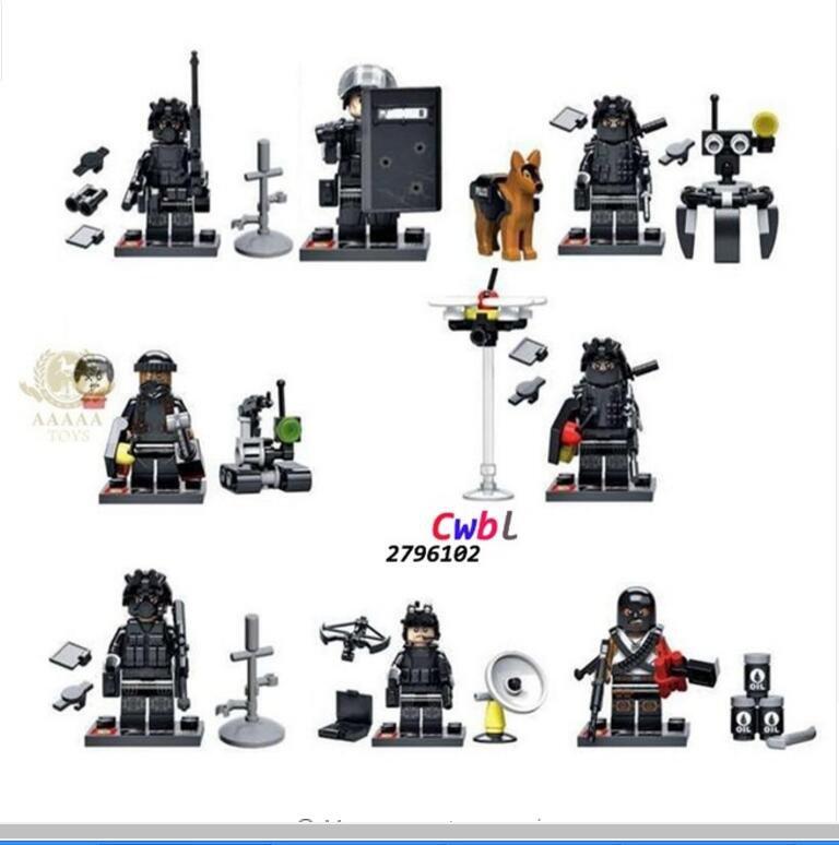 Swat Police Falcon Commandos Counter Strike Weapon Base BattleField Lego Minifigures Compatible Toys
