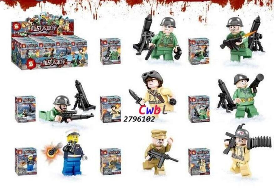 World 2 War US Navy Army Military weapon Lego Minifigures Compatible Toy