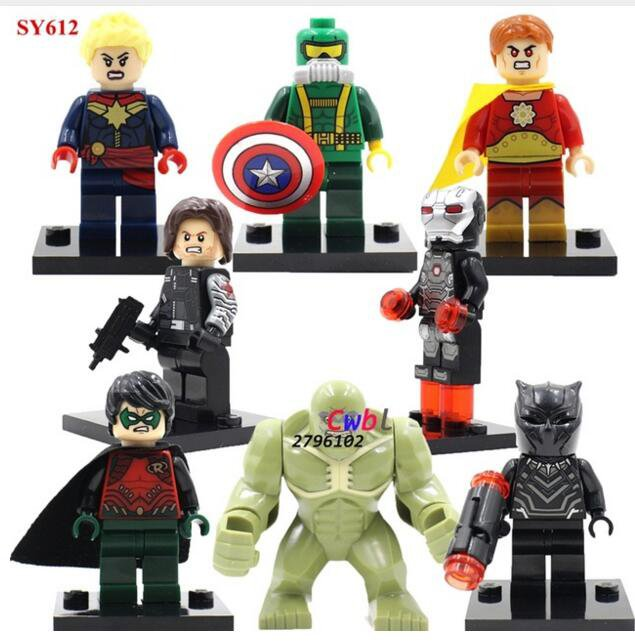 Superhero Civil War Hulk Black Panther Lego minifigures Compatible Toy