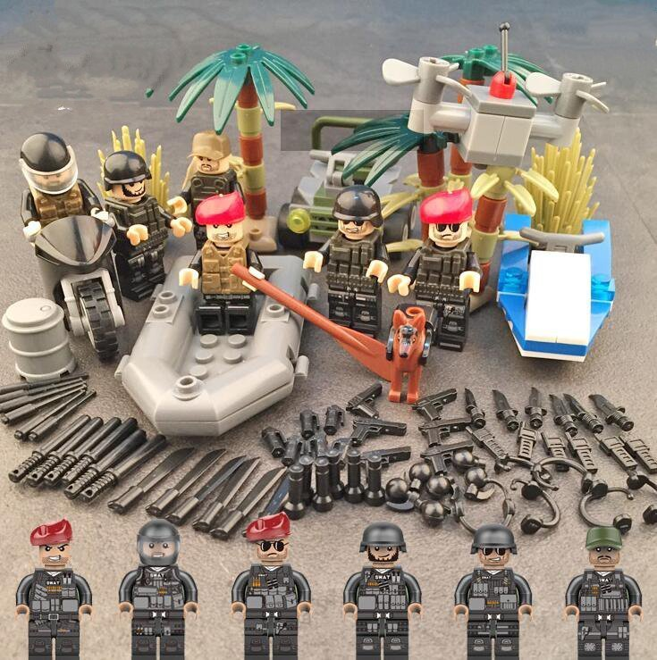 SWAT minifigures Modern Armed Jungle military minifigure Lego Compatible Toy