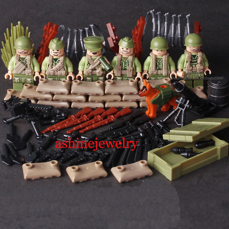 Military WW2 Soldiers Eighth United States Army Minifigures Fit Lego Compatible Toys