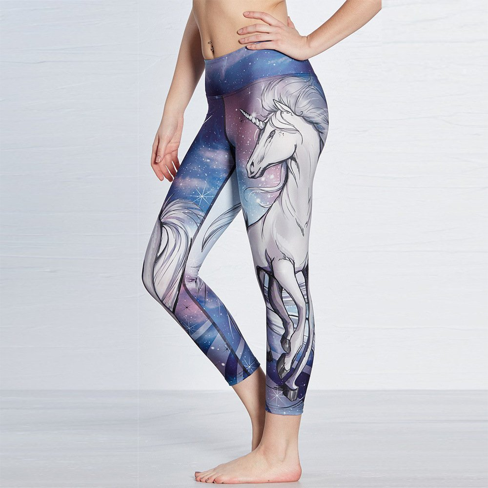 Painting Unicorn Leggings For Women, Yoga Gym Spandex