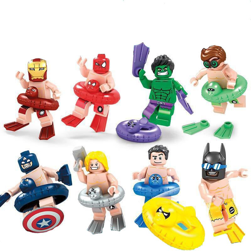 DC Marvel Super hero Summer Swim Ring Lego minifigures Compatible Toys