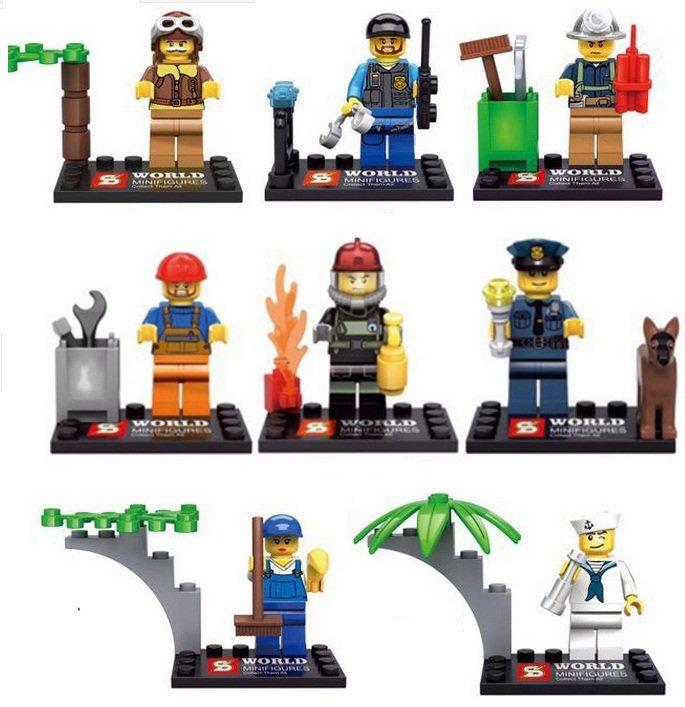 City Minifigures Worker Sailor Policeman SWAT Lego City Minifigure Collection Compatible Toys