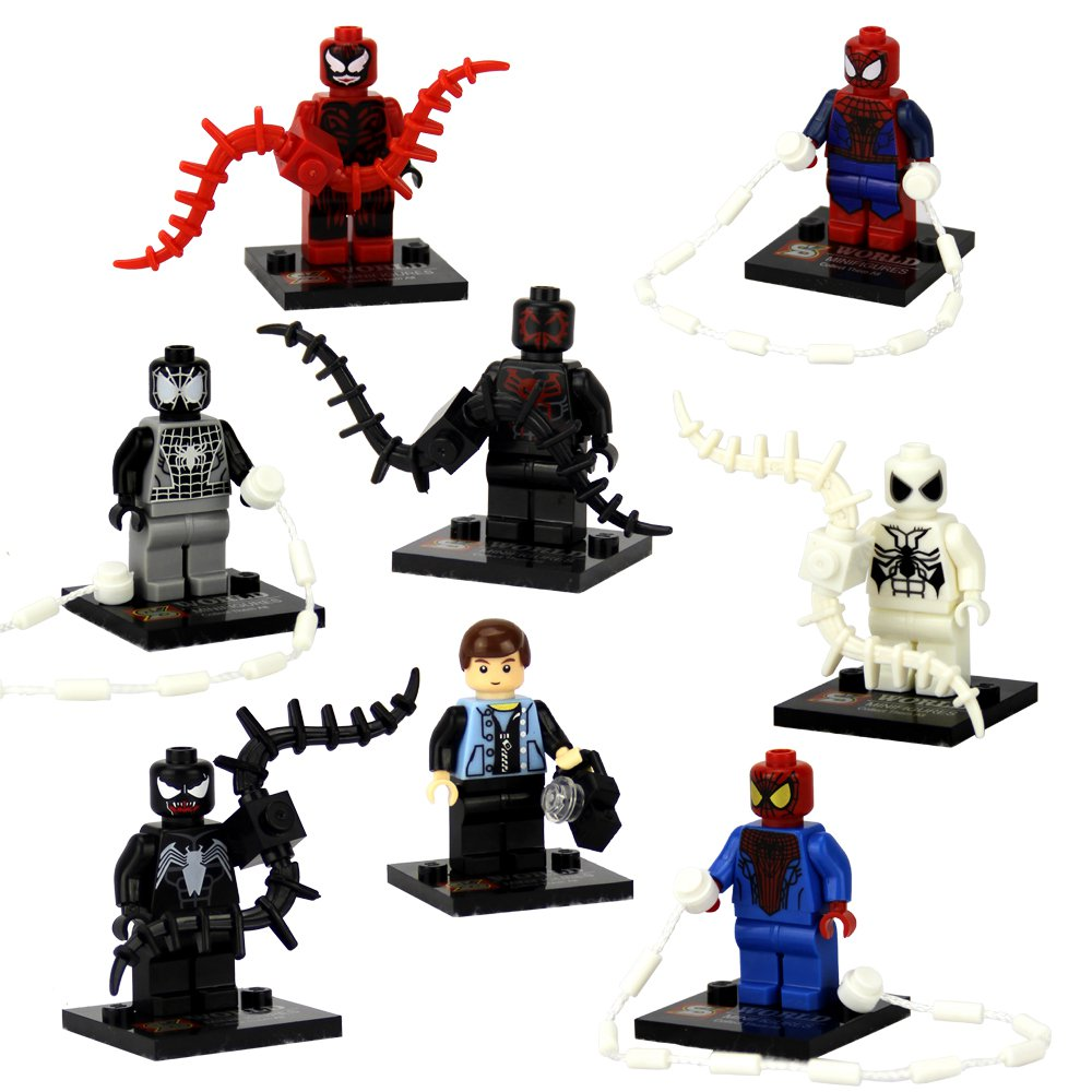 Spider Man Peter Parker In The Lego Incredibles Videogame: Spider-Man Peter Parker Venom Minifigures Superhero Lego