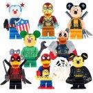 Mickey Duck Cosplay Deadpool Iron Man Minifigures Lego Compatible Toys