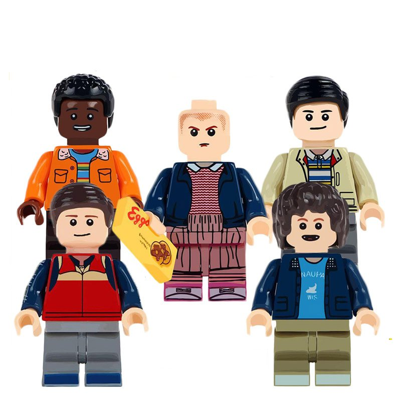 Stranger Things Lucas Dustin Mike Eleven Minifigures Lego Carnotaurus Toy